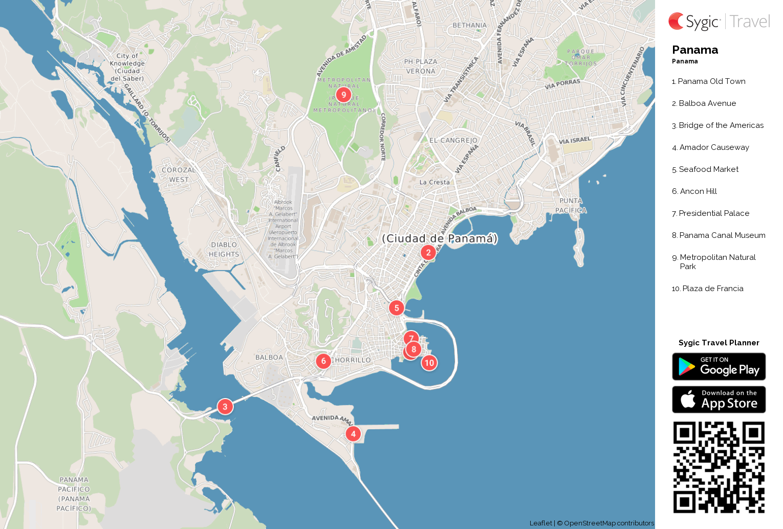 Panama Printable Tourist Map Sygic Travel