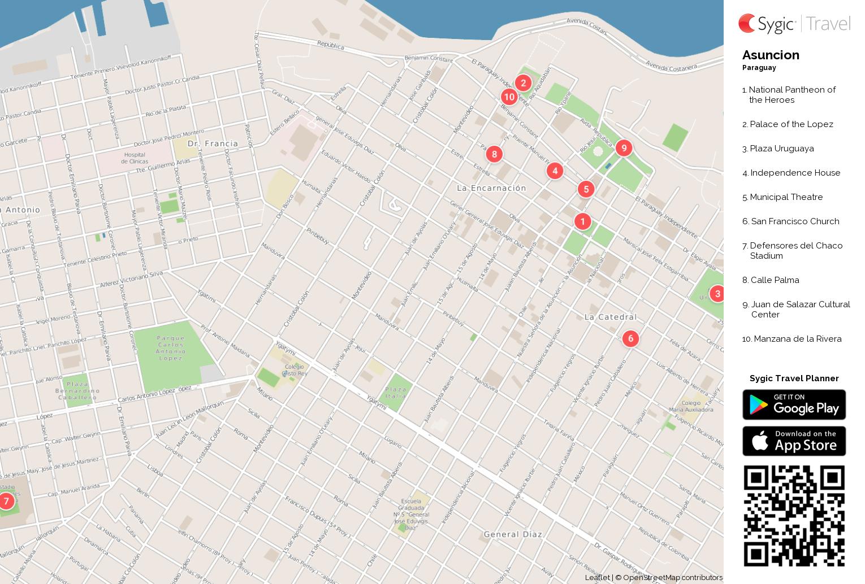 Asuncion Printable Tourist Map Sygic Travel