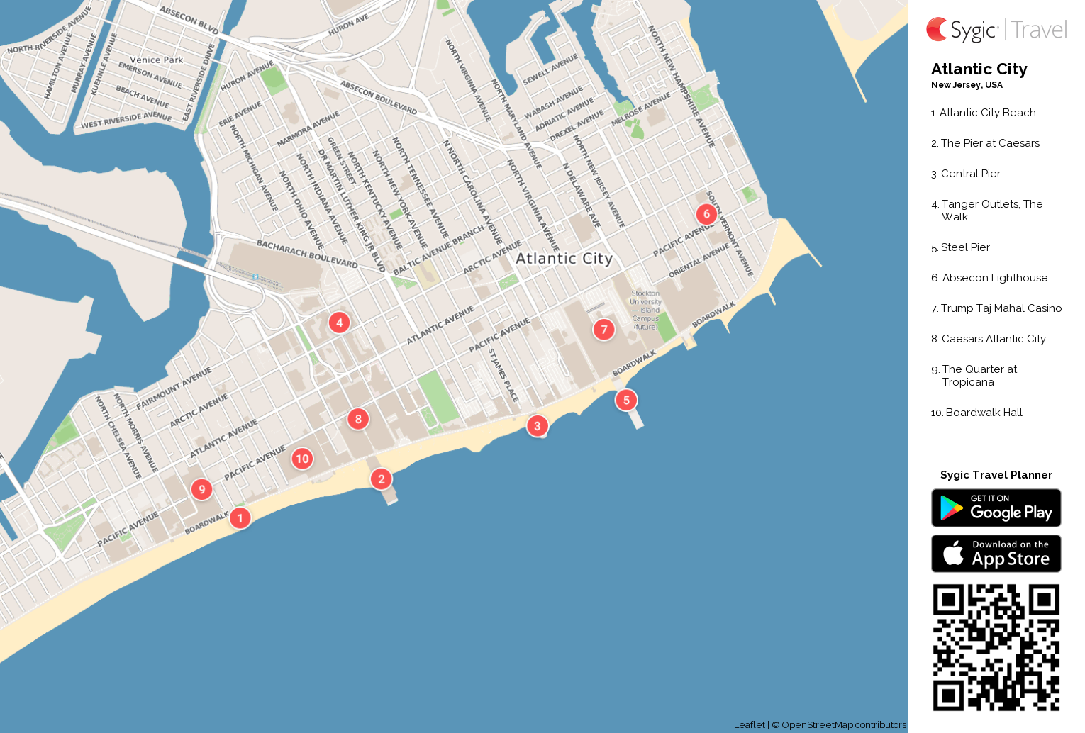 Atlantic City Printable Tourist Map