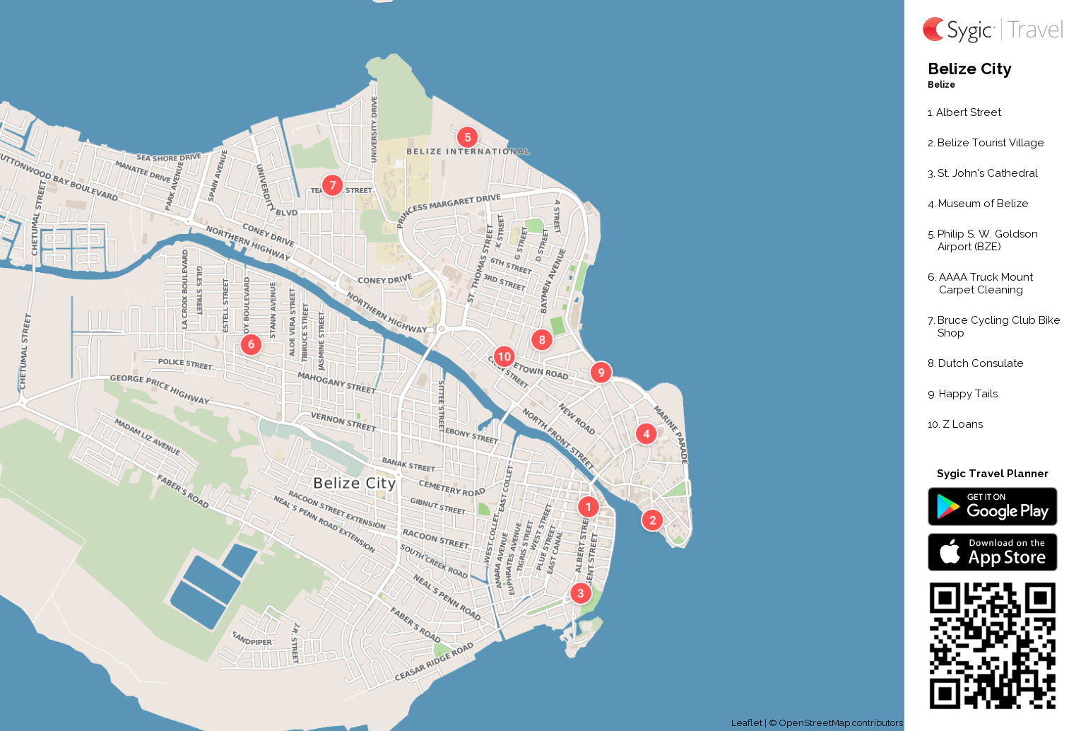 Belize City Printable Tourist Map – Belize Travel Map