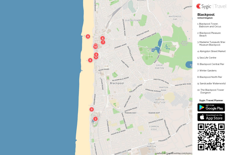 Blackpool Printable Tourist Map Sygic Travel