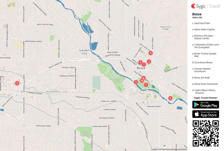 Boise Printable Tourist Map Sygic Travel