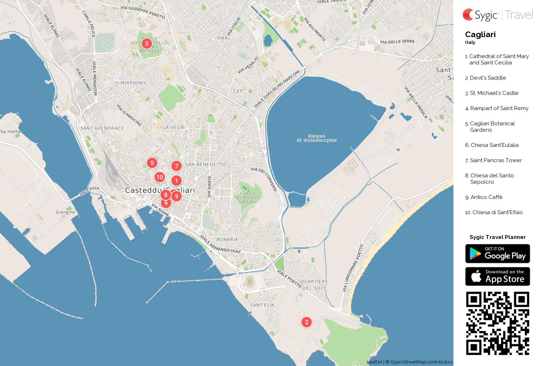 Cagliari Printable Tourist Map Sygic Travel