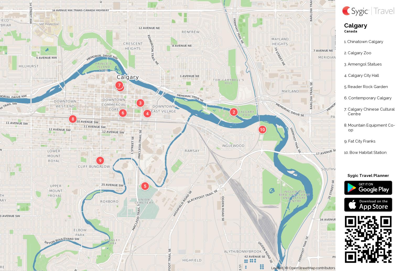 Calgary Printable Tourist Map Sygic Travel