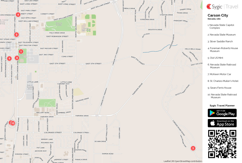 Carson City Printable Tourist Map Sygic Travel