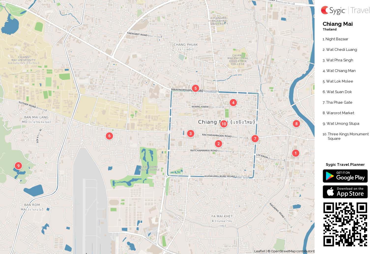 Chiang Mai Printable Tourist Map Sygic Travel