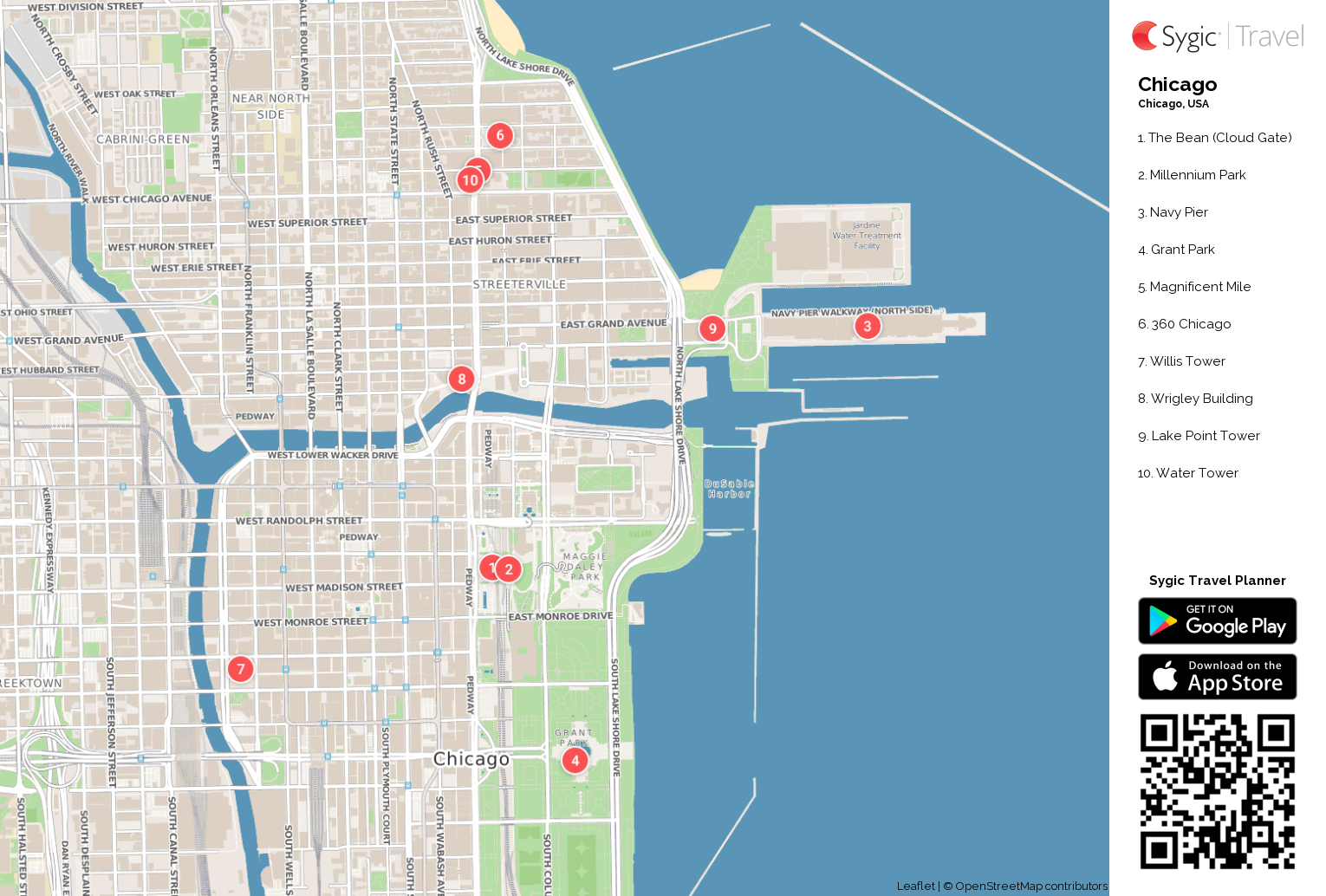 photo relating to Printable Street Map of Downtown Chicago titled Chicago Printable Vacationer Map Sygic Push
