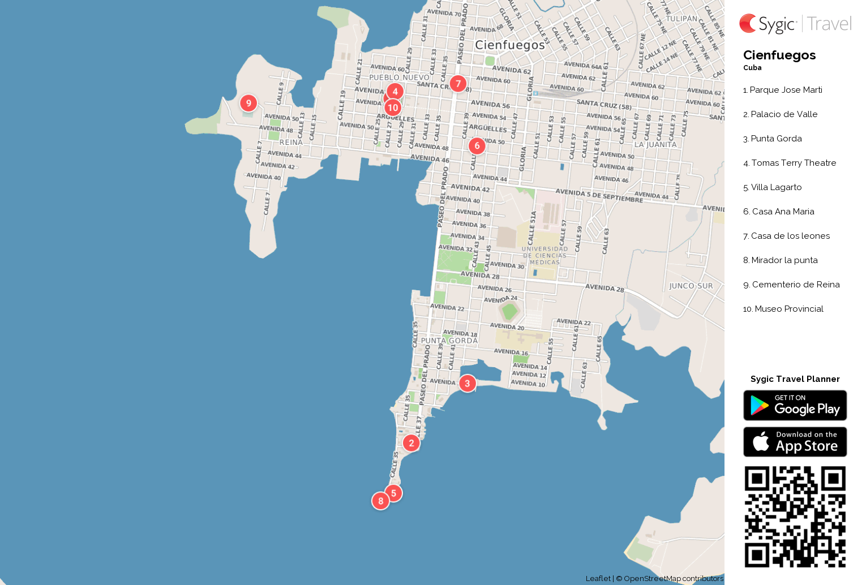 Cienfuegos Printable Tourist Map Sygic Travel