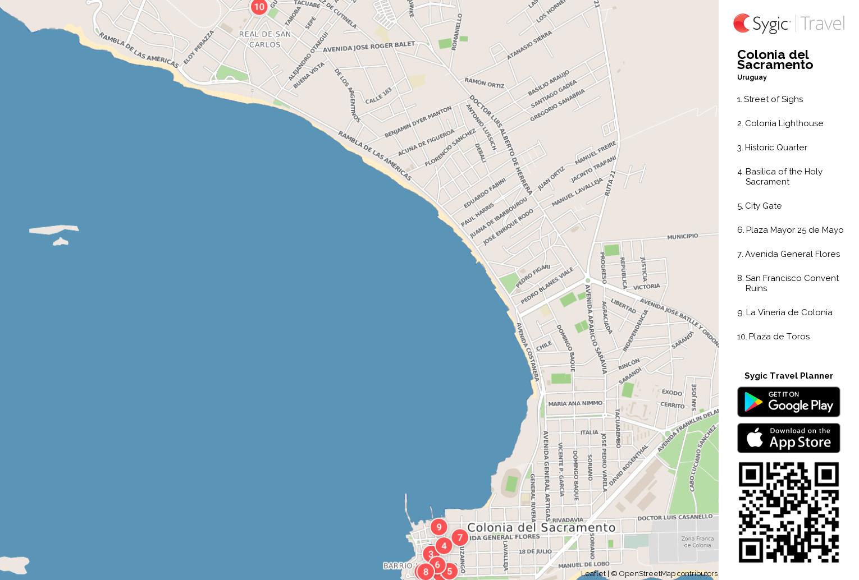 Colonia del Sacramento Printable Tourist Map Sygic Travel