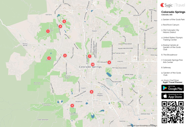 Colorado Springs Printable Tourist Map Sygic Travel