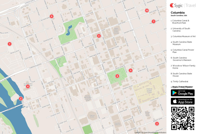 Columbia Printable Tourist Map | Sygic Travel