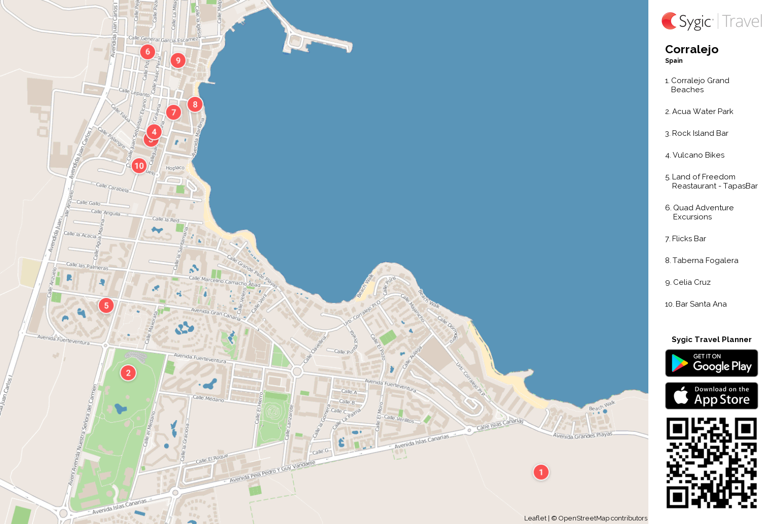 Map Of Corralejo Corralejo Printable Tourist Map | Sygic Travel