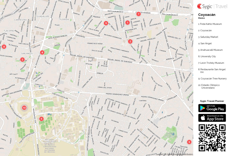 Coyoacn Printable Tourist Map Sygic Travel