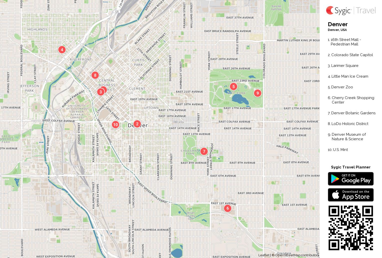 Denver Printable Tourist Map Sygic Travel