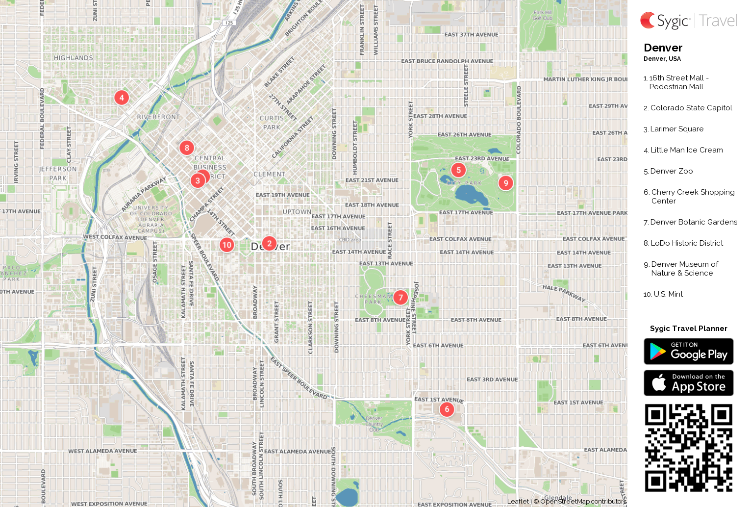 denver printable tourist map  sygic travel - denver printable tourist map