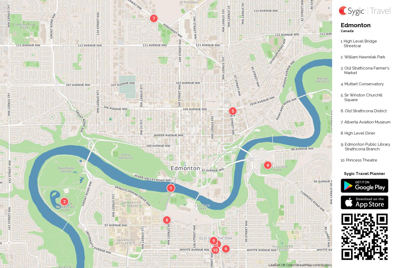 Edmonton printable tourist map sygic travel edmonton printable tourist map gumiabroncs Images