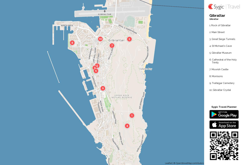 Gibraltar Printable Tourist Map Sygic Travel