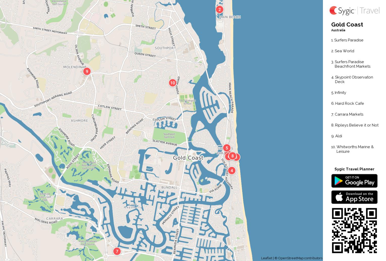 graphic regarding Printable Paradise titled Gold Coastline Printable Vacationer Map Sygic Push