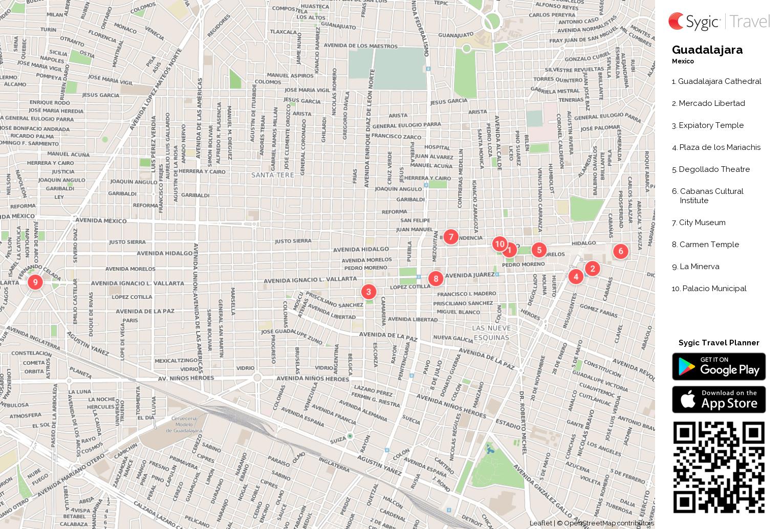 Guadalajara Printable Tourist Map Sygic Travel