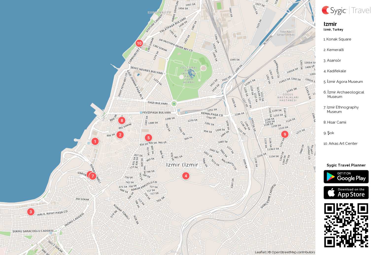 Izmir Printable Tourist Map Sygic Travel