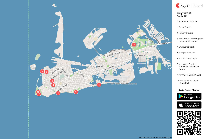 Key west printable tourist map sygic travel key west printable tourist map gumiabroncs Image collections