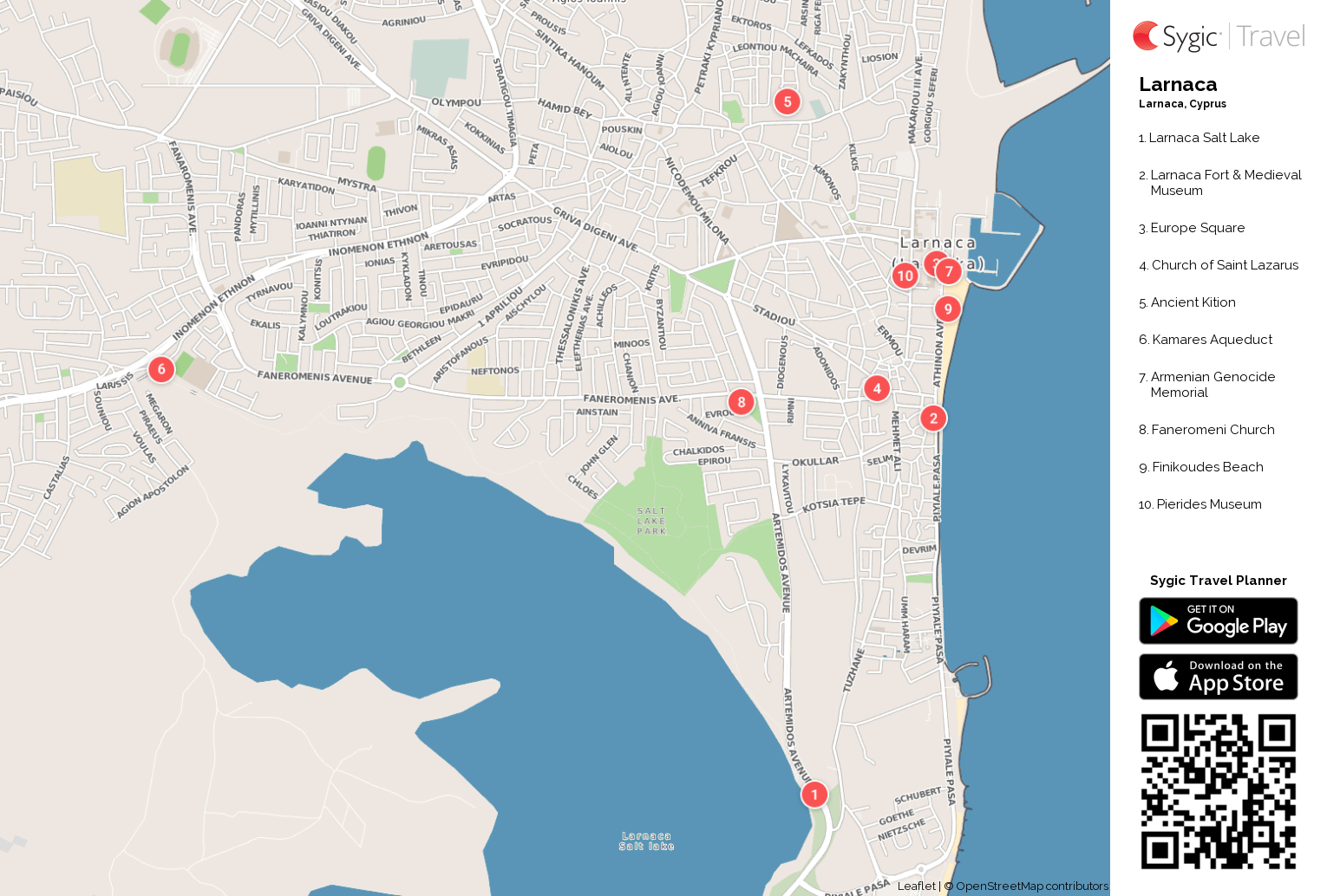 Larnaca Printable Tourist Map Sygic Travel