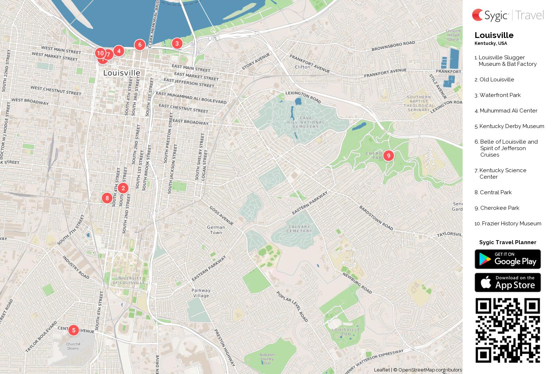 louisville printable tourist map