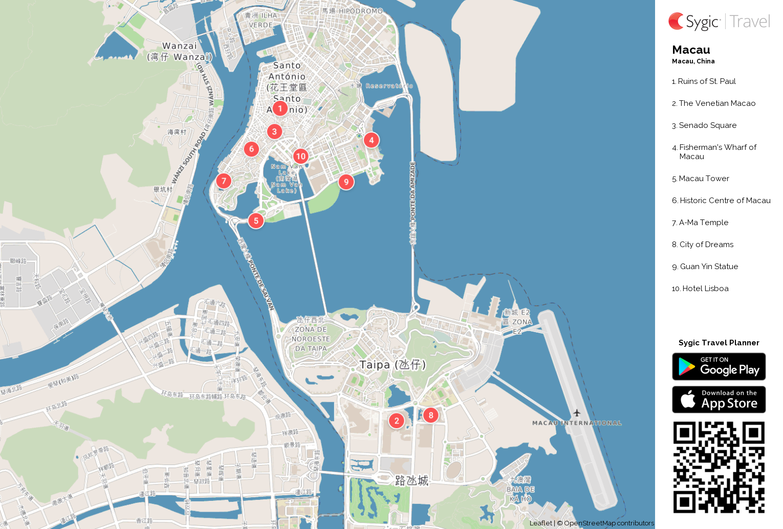 Macau Printable Tourist Map Sygic Travel