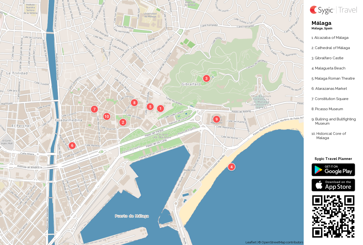 málaga printable tourist map  sygic travel - málaga printable tourist map