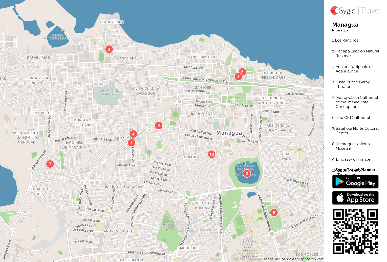 Managua Printable Tourist Map Sygic Travel