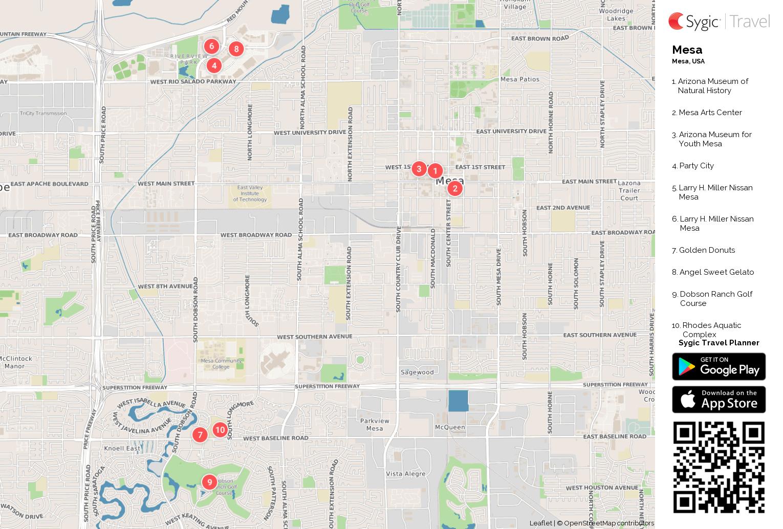 Mesa Printable Tourist Map Sygic Travel