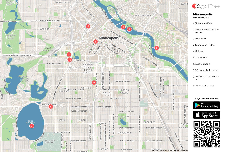 Minneapolis Printable Tourist Map Sygic Travel