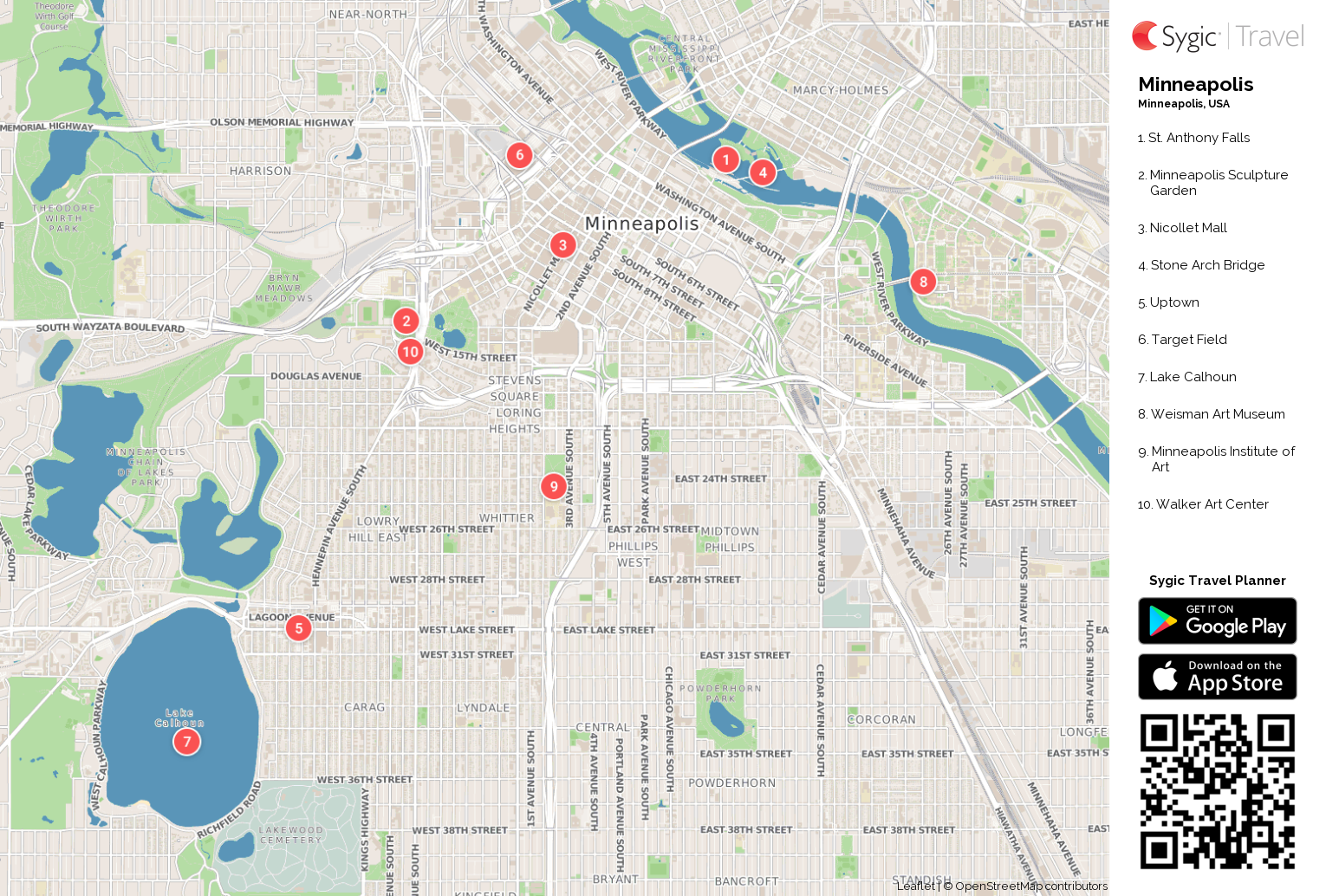 minneapolis printable tourist map