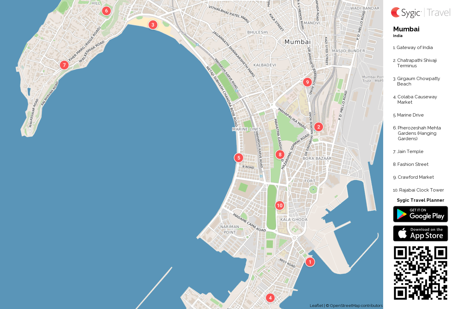 Mumbai Tourist Map Mumbai Printable Tourist Map | Sygic Travel