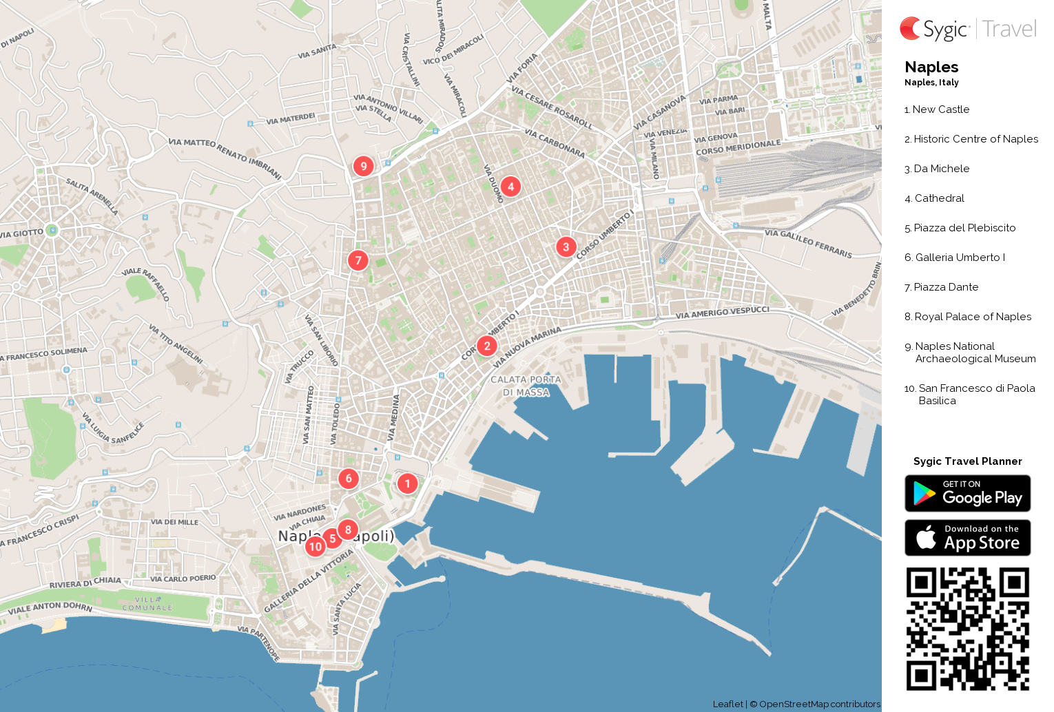 Map Of Naples Naples Printable Tourist Map | Sygic Travel
