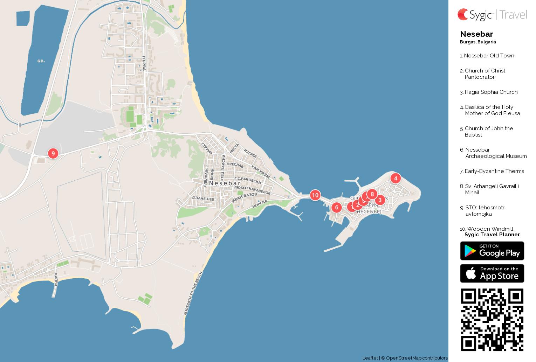 Nesebar Printable Tourist Map Sygic Travel