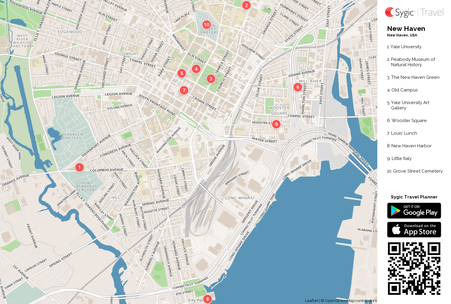 New Haven Printable Tourist Map | Sygic Travel