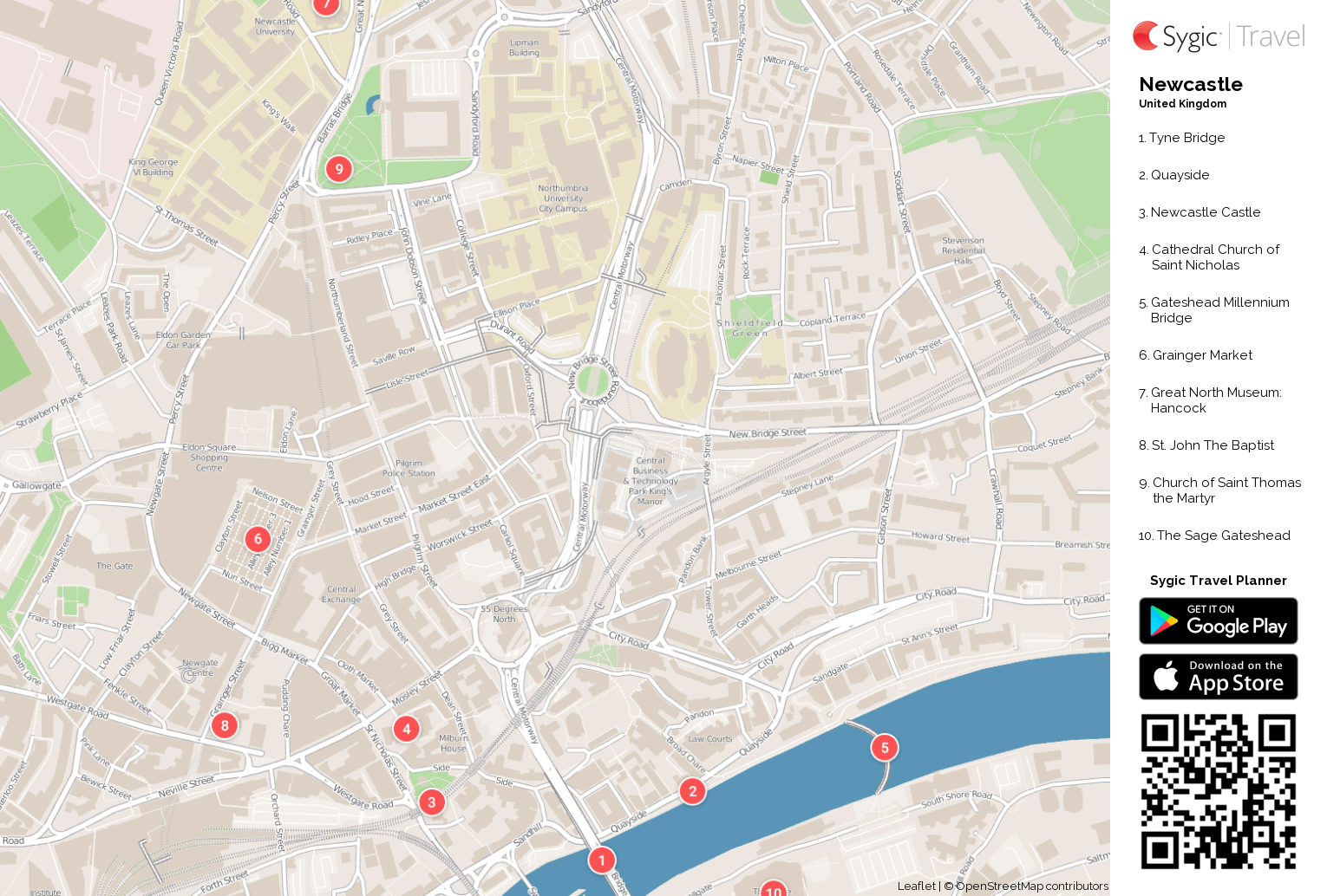 Newcastle Printable Tourist Map Sygic Travel