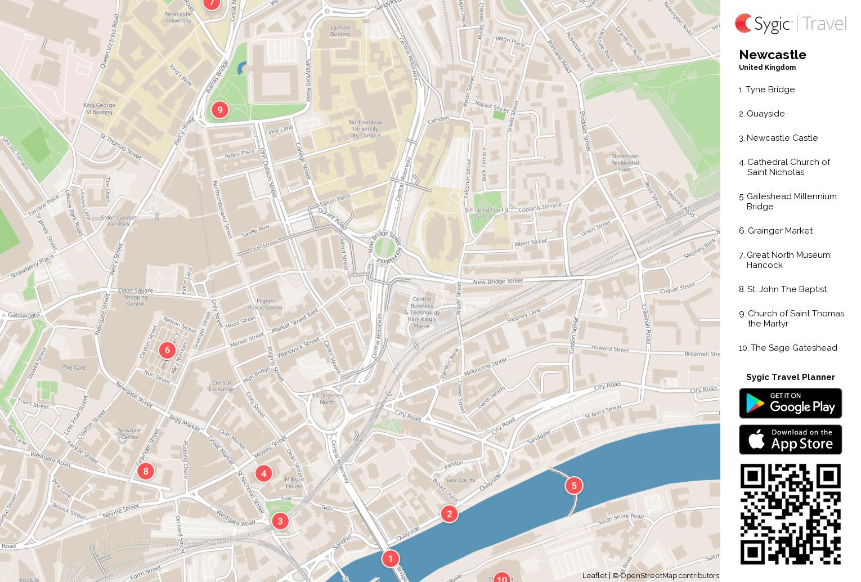 Newcastle Printable Tourist Map Sygic Travel