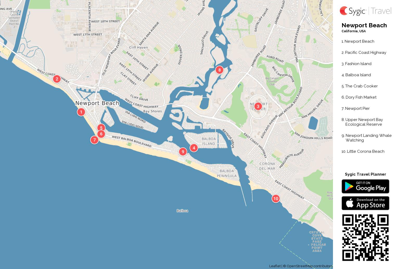 Newport Beach Printable Tourist Map Sygic Travel