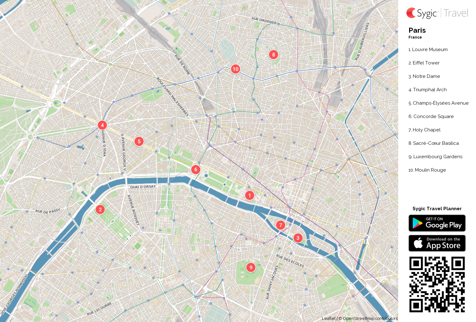 Paris Printable Tourist Map | Sygic Travel