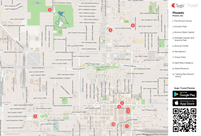 image about Printable Map of Arizona identify Phoenix Printable Vacationer Map Sygic Push