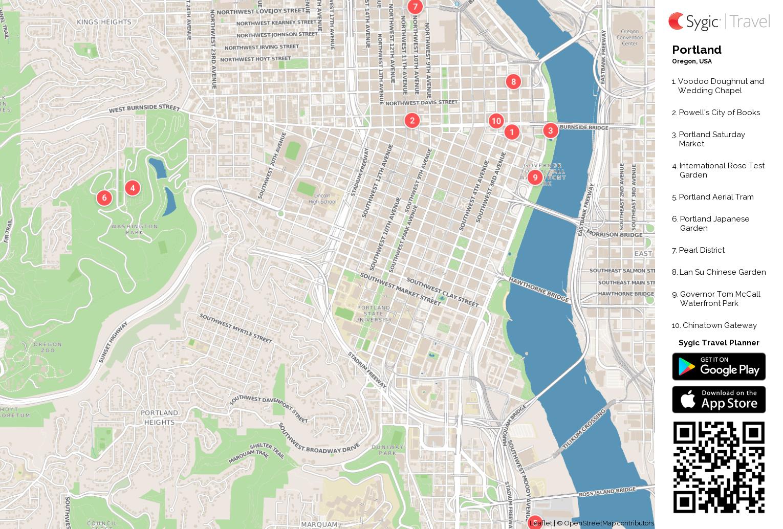 Portland Printable Tourist Map | Sygic Travel