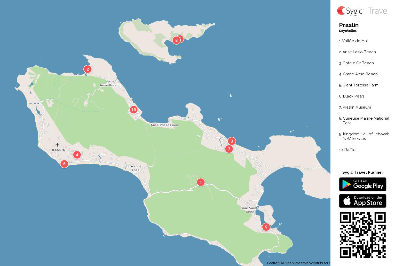 Praslin Printable Tourist Map | Sygic Travel