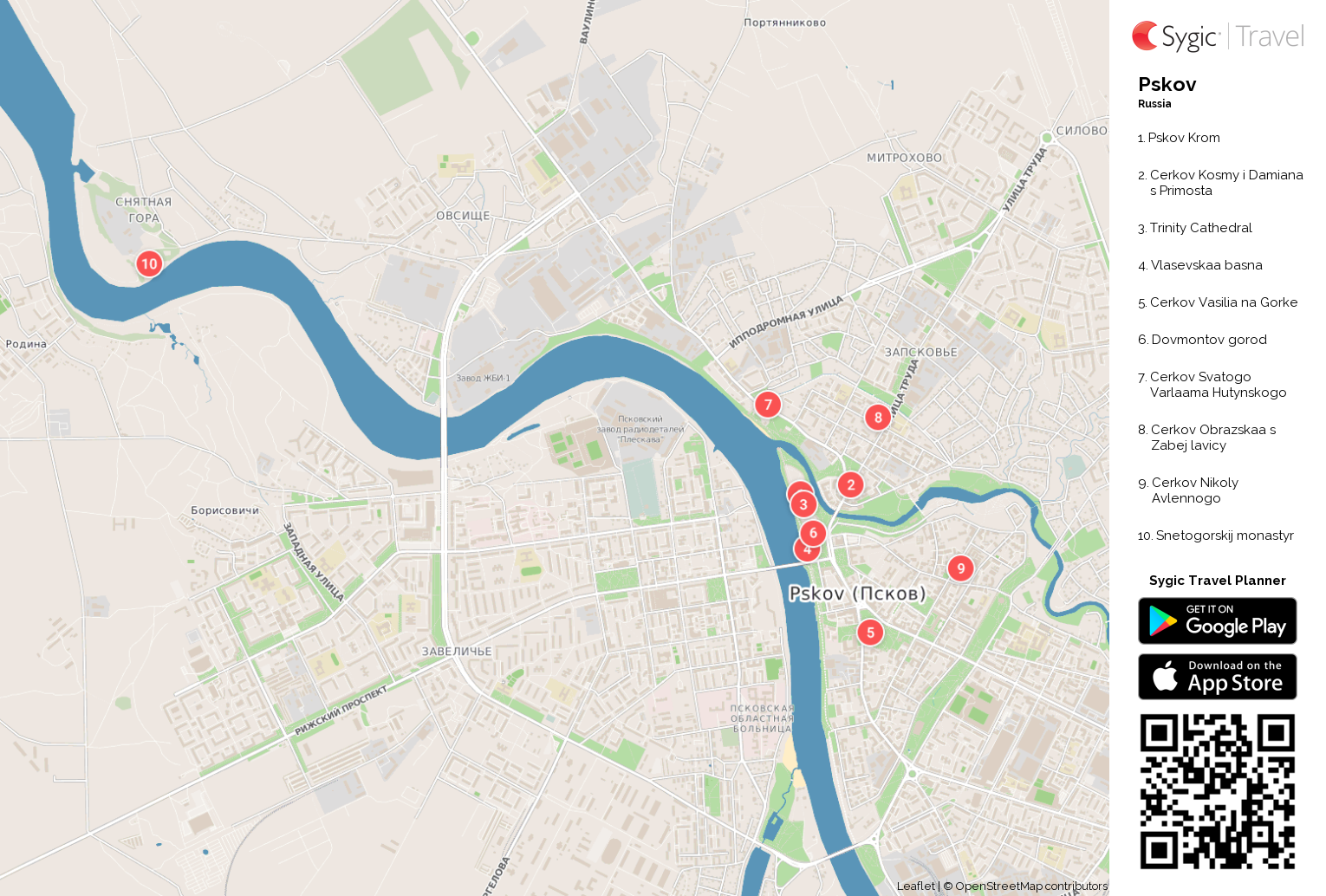 Pskov Printable Tourist Map Sygic Travel