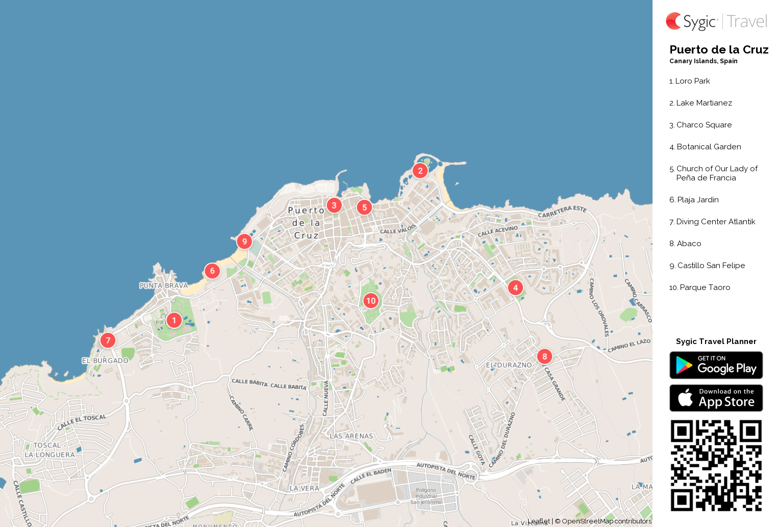 Puerto de la Cruz Printable Tourist Map – La Tourist Map