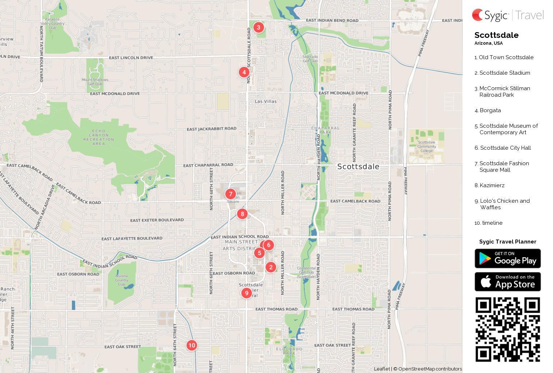 Scottsdale Printable Tourist Map | Sygic Travel
