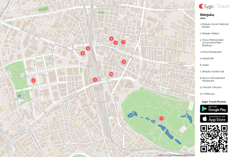 Shinjuku Printable Tourist Map Sygic Travel