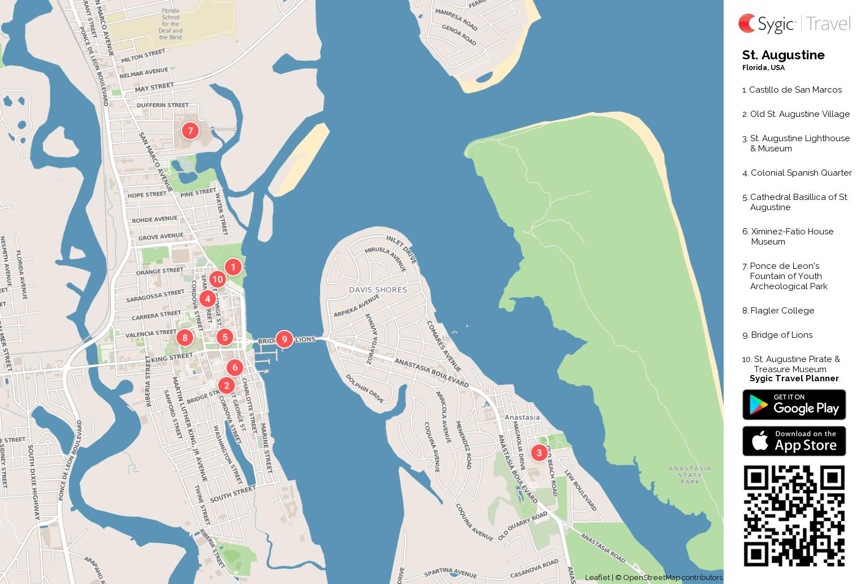 St Augustine Printable Tourist Map