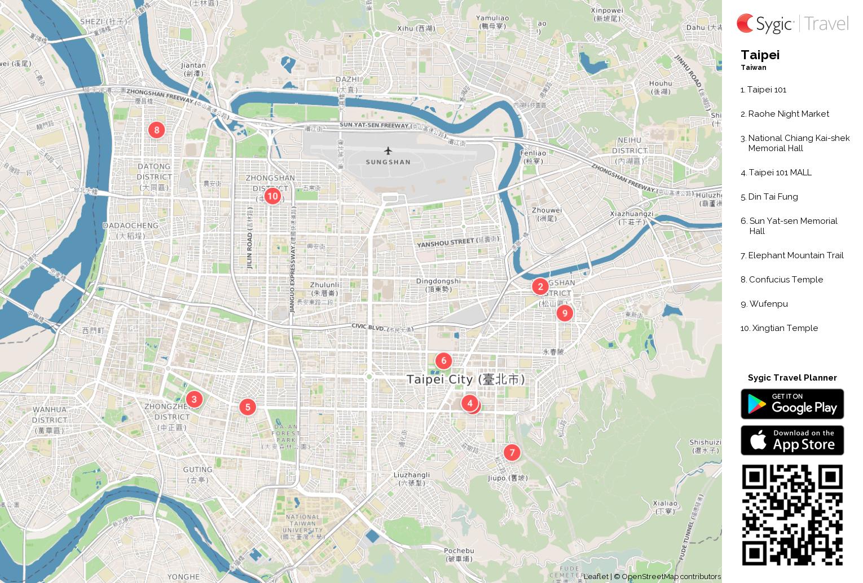 taipei printable tourist map